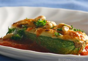 Goat Ricotta Cheese and Pine Nut Stuffed Baby Zucchini