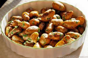 Roasted Garlic Fingerling Potatoes in Thyme and Butter