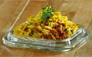 Saffron Orzo with Fennel and Vegetarian Chorizo
