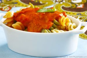 Tri-Color Fusilli Pasta with Mascarpone Tomato Sauce