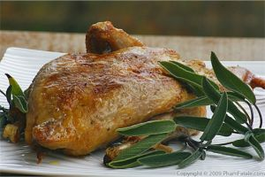 Roasted Pheasant Stuffed with Sage and Granny Smith Apples