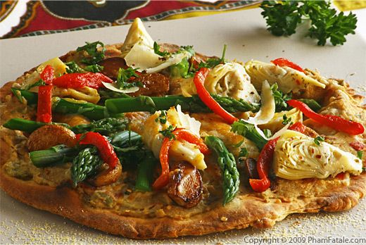 Vegetables and Hummus Pizza