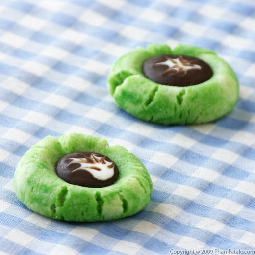 Chocolate Filled Pandan Thumbprint Cookies Recipe