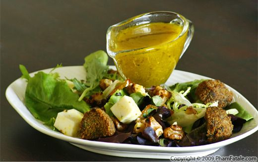 Falafel Salad with Lemon Tahini Vinaigrette Recipe