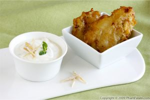 Vietnamese Deep Fried Banana Fritters with Ginger Coconut Mascarpone Sauce