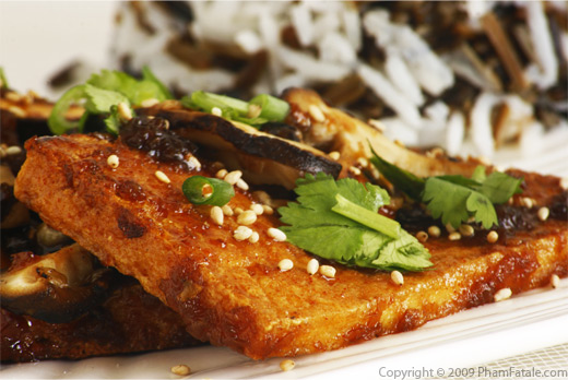 Toasted Sesame Tofu Caramelized with Agave Nectar, Wasabi and Soy Sauce