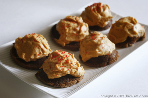Gluten Free Chocolate Almond Bites with Butterscotch Frosting