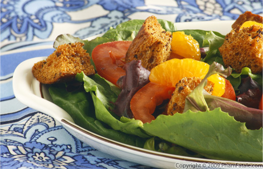 Brown Butter Crouton and Mandarin Segment Salad with a Sugar Cane Vinaigrette Recipe