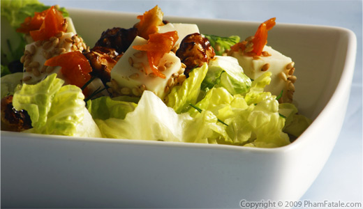 Fresh Garden Salad served with Sesame Persian Cheese and Candied Walnuts