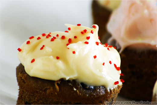 Double Chocolate Madeleine Tea Cakes with Mango Cream Cheese Frosting Recipe