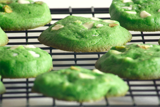 Pandan Pistachio White Chocolate Cookies