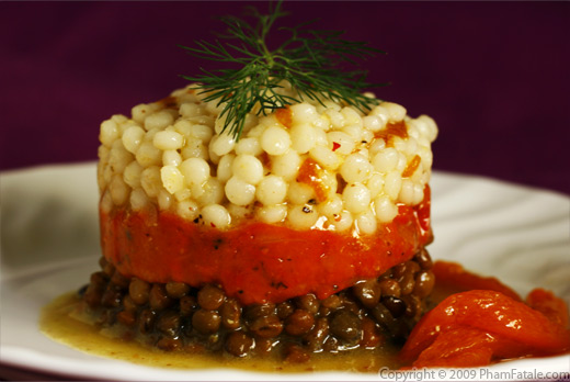 Israeli Couscous and Lentil Salad with Roasted Red Bell Pepper Gelee