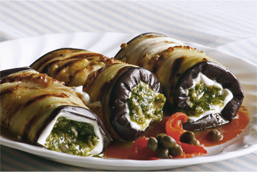 Roules d'Aubergines au Chevre (Goat Cheese Eggplant Rollups) Recipe