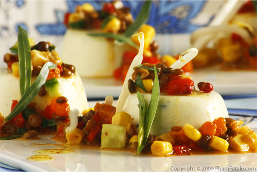 Savory Goat Cheese Panna Cotta with Beluga Lentil Relish (Panna Cotta au Chevre et sa Macedoine de Legumes)