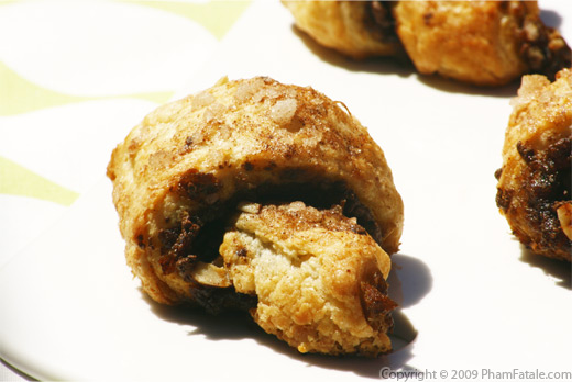 Date, Hazelnut and Chocolate filled Croissant-Shaped Rugelach