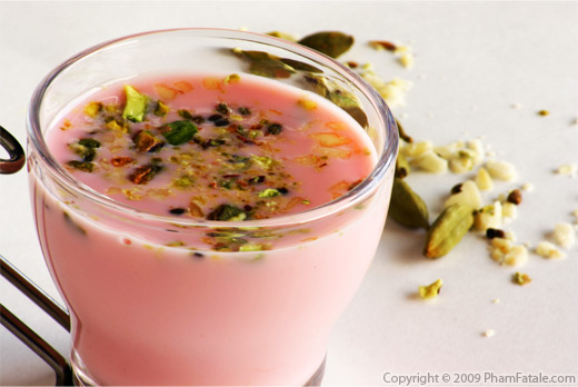 Sharbat (Indian Milk Drink made with Rooh Afza Syrup, Cardamom Seeds, Almonds, Cashews and Pistachios) Recipe