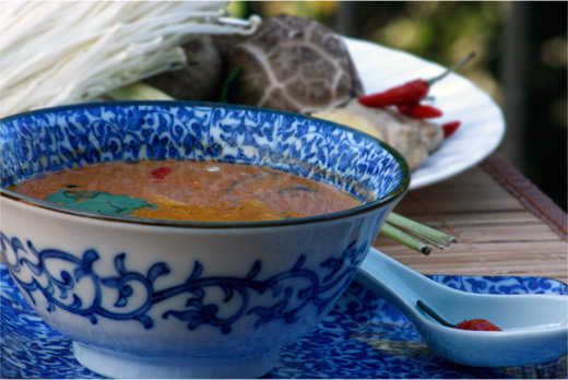 Vegetarian Tom Yum Thai Soup