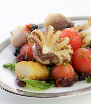 Pommes Chateau with Fried Calamari, Basil, and Tomato Cherry Relish