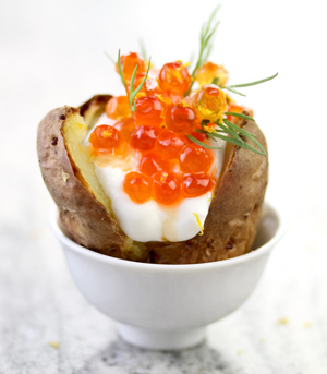 Baked Potatoes Filled with Caviar and Tangerine Creme Fraiche Sauce