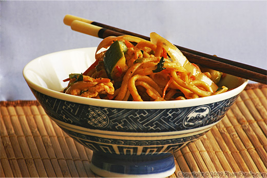 Vegetarian Chow Mein (Chinese Sauteed Noodles with Tofu and Vegetables)