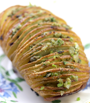 Hasselback Potatoes with Sauce Verte