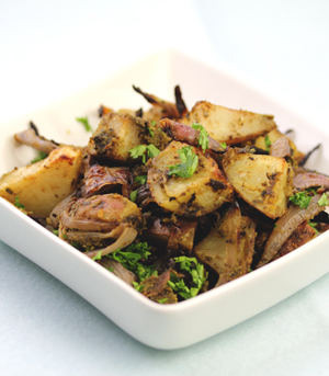 Parsley and Walnut Pesto Roasted Potatoes