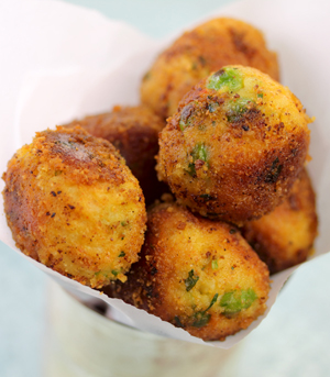Cheesy Potato Croquette Appetizers with Harissa Sauce