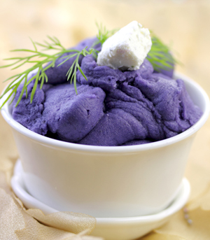 Mashed Purple Potatoes with Herb Goat Cheese